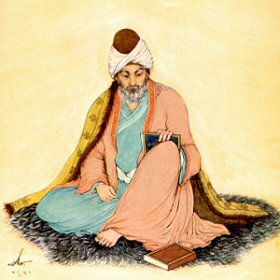 Jalal al-Din Rumi, Painting by Hossein Behzad