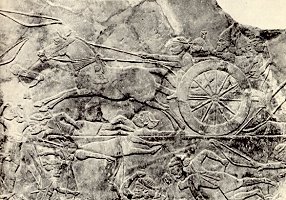 Detail of an Assyrian refief carving from the palace of Ashurbanipal, Nineveh