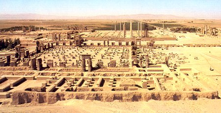 A view over Persepolis from the mountain Kuh-i-Rahmat