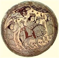 Ceramic bowl of the minai type from Kashan, Iran, dated 1187