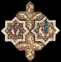 Two cross tiles and two star tiles, Kashan