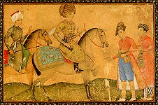 A prince on horseback with a courtier and servants